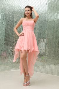 Salem OR High Low Beaded Homecoming Dress With Strapless in Watermelon