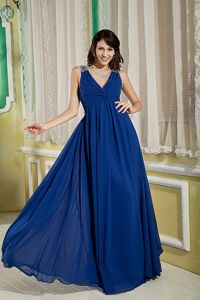 Chantilly Virgini Blue V-neck Homecoming Dress with Beading and Ruches