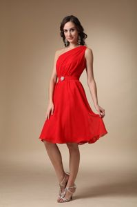 One Shoulder Red Homecoming Dress with Ruches in Asheville North Carolina