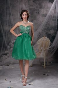 Sweetheart Green Homecoming Dresses with Beading in Providence RL