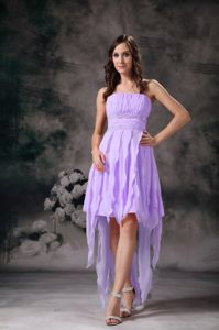 High Low Lavender Homecoming Cocktail Dress with Strapless in Trenton NJ