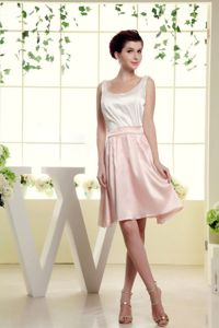 Scoop Short-Length Straps Homecoming Dress for Junior in White and Baby Pink