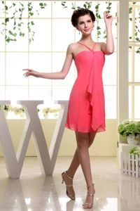 Mini-Length Peach Halter Spaghetti Straps Simple Homecoming Dress for Junior