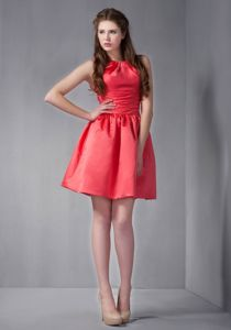 Mini-Length Rust Red Scoop Ruched Homecoming Cocktail Dress in Connecticut