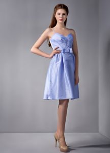 Lavender Short-Length Spaghetti Straps Lovely Homecoming Dress with Bowknot
