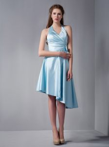 Baby Blue Halter A-Line Asymmetrical Homecoming Dresses for Junior with Bow