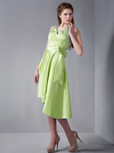 Bright Green Halter A-Line Asymmetrical Homecoming Dress for Junior with Bow