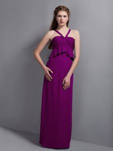 Eggplant Straps Floor-Length Column Homecoming Dress for Junior with Ruching