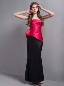 Strapless Ankle-Length Sheath Celebrity Homecoming Dress in Fuchsia and Black