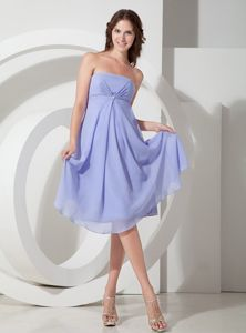 Lavender Simple Strapless Tea-Length Homecoming Dress for Prom with Beading