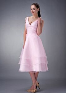 Baby Pink A-Line V-Neck Tea-Length Layered Ruched Homecoming Queen Dress
