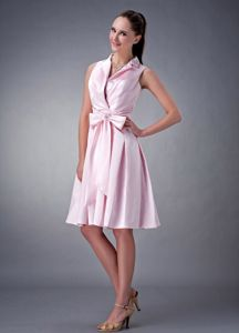 Baby Pink Knee-Length Homecoming Dresses with Roll Collar and Big Bowknot