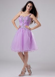 Lavender One-Shoulder Knee-Length Appliqued Homecoming Dress with Ruching