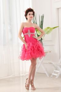 Hot Pink Strapless Short-Length Ruched Beaded Homecoming Dress with Ruffles