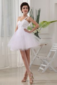 White Beaded One-Shoulder Mini-Length Ruched Homecoming Queen Dresses