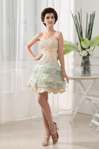 Multi-Colored Sweetheart Mini-Length Layered Homecoming Dress with Ruffles