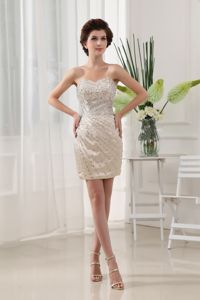 Mini-Length Ivory Sweetheart Sheath Homecoming Cocktail Dress with Beading