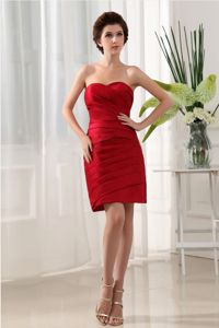 Wine Red Strapless Short-Length Ruched Sheath Homecoming Dresses in Colorado