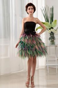 Multi-Colored Strapless Mini-Length Homecoming Cocktail Dress with Black Bow