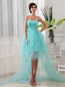 Blue Sweetheart High-Low Homecoming Princess Dress with Ruffles and Beading
