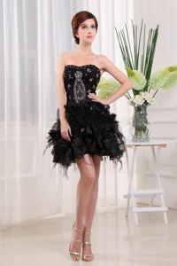 Mini-Length Black Strapless Beaded Homecoming Cocktail Dresses with Ruffles