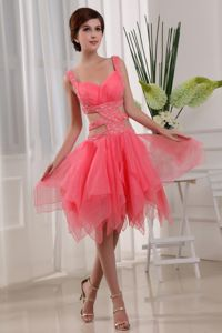 Watermelon Straps Short-Length Ruched Beaded Homecoming Dress with Cutouts