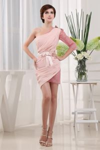 Pink One-Shoulder One-Sleeve Short-Length Homecoming Dress with Belt and Bow