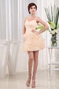 Champagne Mini-Length Spaghetti Straps Homecoming Dress with Rolling Flowers