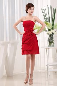 Red Short-Length Strapless Ruched Homecoming Dresses for Junior with Flowers