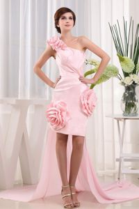 One-Shoulder Short-Length Homecoming Dress with Flowers and Detachable Watteau