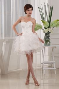 White Sweetheart Mini-Length Appliqued Homecoming Dress with Ruffles in Alaska