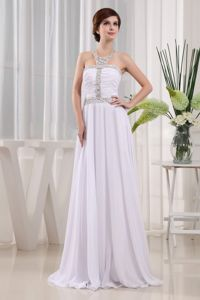 White Halter Beaded Brush Train Homecoming Queen Dress with Jeweled Neckline