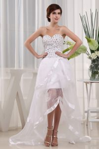 White Sweetheart High-Low Homecoming Dress for Junior with Beading in Florida