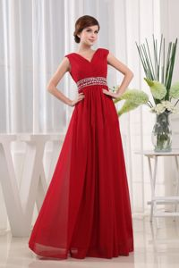 Dark Red V-Neck Straps Floor-Length Homecoming Dress for Prom with Appliques