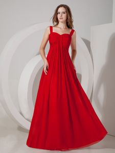 Wine Red Straps Floor-Length Ruched Homecoming Dress for Prom in Connecticut