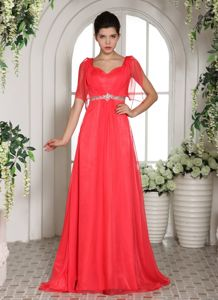 Coral Red Square Brush Train Beaded Homecoming Dress for Prom in California