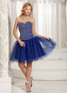 Navy Blue Sweetheart Short-Length Beaded Junior Homecoming Dress in Delaware