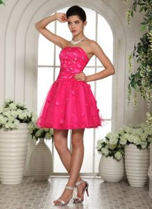 Hot Pink Mini-Length Strapless Beaded Junior Homecoming Dress with Flowers