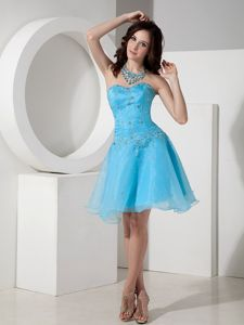 Blue Sweetheart Short-Length Appliqued Dress for Homecoming in Connecticut