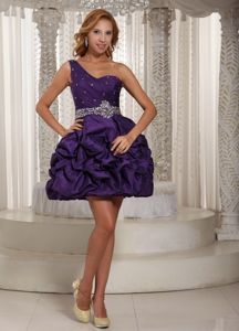 Eggplant One-Shoulder Mini-Length Beaded Homecoming Dress with Pick-ups