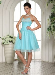 Baby Blue Strapless Short-Length Homecoming Dress with Appliques in Arizona