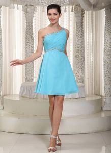 Blue One-Shoulder Short-Length Homecoming Dress with Beading and Ruching