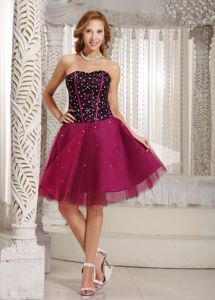 Wine Red Short-Length Strapless Beaded Homecoming Dress for Junior in Florida