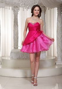 Fuchsia Mini-Length Sweetheart Beaded Dress for Homecoming with Flowers