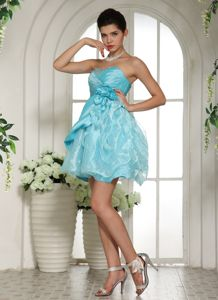 Blue Mini-Length Beaded Sweetheart Homecoming Dress with Ruffles and Flowers