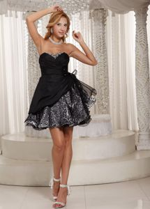 Mini-Length Sweetheart Homecoming Dress in Black and Leopard with Flower