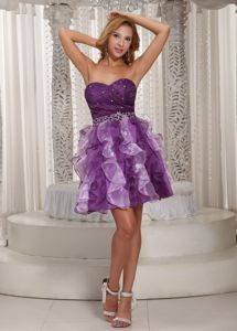 Purple Short-Length Sweetheart Beaded Homecoming Princess Dress with Ruffles