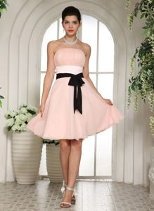 Baby Pink Short-Length Strapless Ruched Homecoming Dress with Black Belt
