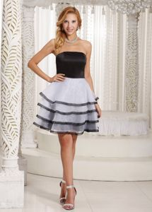 Mini-Length Strapless Layered Homecoming Cocktail Dress in White and Black