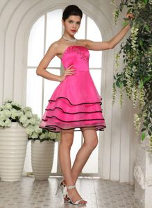 Hot Pink Mini-Length Strapless Layered Homecoming Dance Dress with Appliques